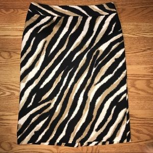 Talbots tiger striped knee length pencil skirt